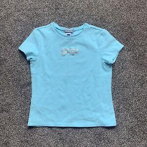 gap girls large (10) short sleeve blue t-shirt embellished