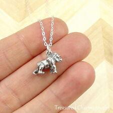 925 Sterling Silver Gorilla Charm Necklace - Monkey Ape Zoo Pendant Jewelry NEW