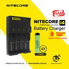 Nitecore I4 Battery Charger + 4X Panasonic 18650 3400mAH Li-ion Rechargeable Bat