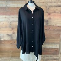 New~$52~ZAC & RACHEL WOMAN 2X Plus Black Long-Sleeve Button-Shirt Top Blouse