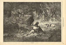 Hunter, With Knife Battles The Black Jaguar, 1870 French Antique Art Print,