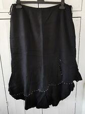 Wallis Black Linen-Look Skirt Fluted Asymmetric Hem Beaded Embroidered, Size 20