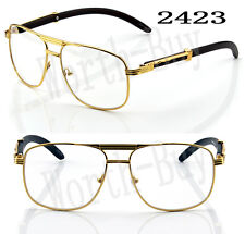 New Mens Womens Clear Lens Fashion Vintage Retro Designer Glasses Frame Wood 80s