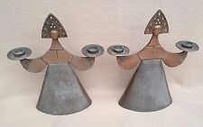 "PAIR VINTAGE RUSSIAN BRONZE EFFECT METAL CANDLESTICKS CANDLE HOLDERS ""TSAREVNA"""