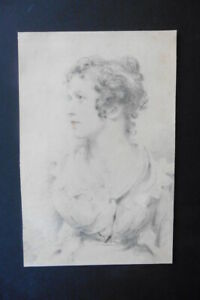 ENGLISH SCHOOL 19thC - FINE PORTRAIT YOUNG WOMAN - PENCIL DRAWING
