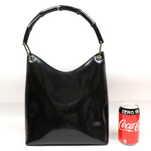 GUCCI Bamboo Handbag Nylon Black