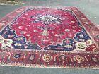 Antique Turkish Heriz Serapi rug distressed estate carpet 13.6x19.7 As Is