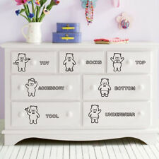 Cute Cartoon Bears Wardrobe Sticker Bedroom Closet Clothes Label Category Decal