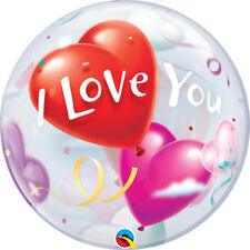 "VALENTINE'S DAY PARTY SUPPLIES 22"" SEE THRU I LOVE YOU HEARTS BUBBLE BALLOON"