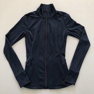 Athleta Shanti Salutation Jacket Size XXS Powervita Iron Blue Full Zip Thumbhole