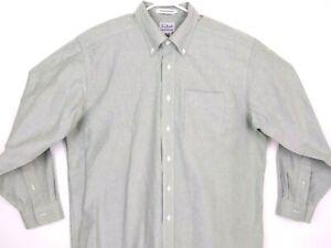 LL Bean Mens Long Sleeve Button Collar Shirt Size Cotton Green Sz 16.5-33