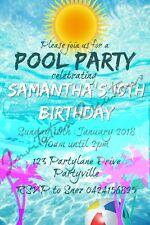 Diy Print Custom Beach Pool Splash Summer Fun Sun Birthday Party Invitations
