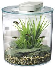 Fish Tank Aquarium 10 Litre 25.5 cm Diameter Discreet Inbuilt lED Lights Gift