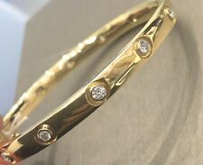 18ct Yellow Gold Diamond Bangle 1ct Single Stone Bracelet 29g