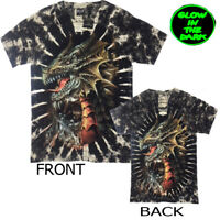 TYE DYE  DRAGON/SKULL/  Mythical T-Shirt  Glow In The Dark Print Front & Back