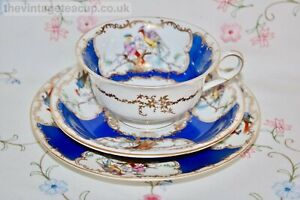 Antique Tea Set Coalport Batwing Style English Fine China Trio cup saucer plate