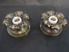 A Pair of Restored Antique Decorative Cast Brass Light Fixtures Ready to Install
