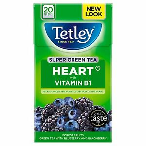 Tetley Heart With Vitamin B1 Super Green Tea With Blueberry & Blackberry 20 Bags