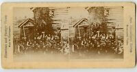 Norwegian village Meeting ? Vintage Stereoview Photo , Norway