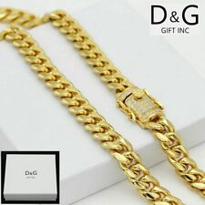 "NEW DG Gift Inc Men Stainless Steel 30"" Buckle CZ Cuban Curb Chain Necklace +Box"