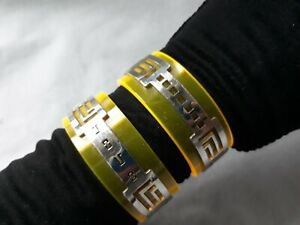 JOVO Geometric Design Chrome and Clear Yellow Lucite Wide Cuff Bracelet