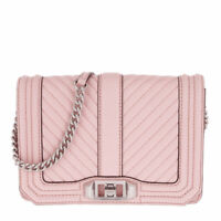 8NWT!! Rebecca Minkoff Chevron Quilted Small Love Leather Crossbody Bag Peony