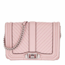 NWT!! Rebecca Minkoff Chevron Quilted Small Love Leather Crossbody Bag Peony
