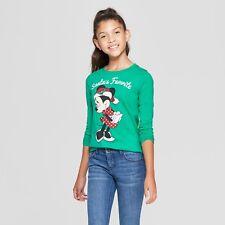 Girls M 7-8 Minnie Mouse 'Santa's Favorite' Long Sleeve Green Christmas T-Shirt