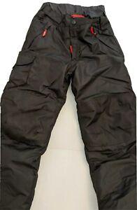 Champion Kids Dry Black Snow Ski Pants Red Trim Cargo Zip Pockets Size S (6/7)