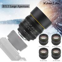 Kamlan 50mm f1.1 II APS-C Manual Focus Lens for NEX M4/3 Fuji X Mirrorless Camer