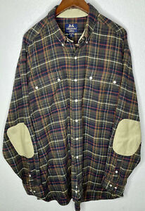 Willis & Geiger Thick Cotton Flannel Button Down Shirt Elbow Patch Mens XL TALL