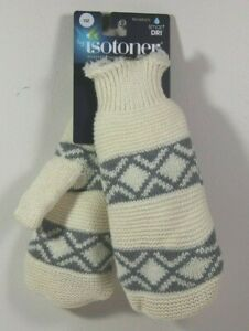 Isotoner Womens Smart Dri Winter Mittens White 1 Size Fits Most