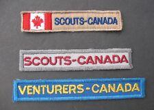 BOY SCOUTS CANADA (3) VINTAGE STRIP BADGES VENTURERS EXTINCT UNIFORM SCOUTING