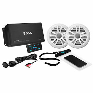 Boss Audio ASK902B.6 Marine Audio Amplifier, Speakers, USB Cable, & Phone Pouch