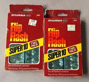 Vintage Sylvania Blue Dot Flip Flash Super 10 Double Pack Lot NIB 40 Flashes