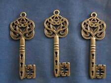 Lot of 6 Steampunk antique Bronze Skeleton keys, lead/nickel free over 2 inch