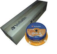 200 DISCOS VERBATIM DVD - R 4,7 GB 16 X TARRINA 25 UDS SPINDLE BOBINA 43522