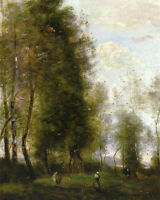 """Art Oil painting Corot - Landscape A Shady Resting Place with cows canvas 36"""""""
