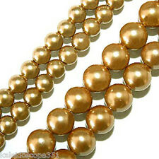MAGNETIC HEMATITE BEADS GOLD PEARLIZED 4MM HIGH POWER BEAD STRANDS HPG3