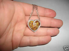 White Green Yellow Orange & Pink Diamond Heart 18K White Gold Necklace