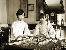 VINTAGE CHINESE GIRLS PLAY MAH JONGG *CANVAS* PHOTO