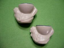 Set of (2) vintage heavy pottery HEN CHICKEN ROOSTER eggs cups.Gray w/ blue trim