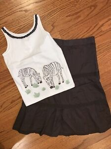 Janie And Jack NWT Sz 8 Natural Safari Zebra Tank Top & Tiered Long Skirt