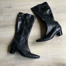 ECCO Womens Black Leather Boots Sz 40 Tall Knee High Cone Heels Side Zip 9-9.5