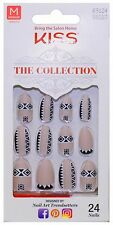 KISS 24 Glue-On Nails #69124 NUDE+WHITE+BLACK The Collection MEDIUM Matte 1a