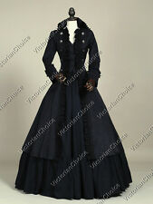 Black Victorian Steampunk Military Coat Dress Punk Witch Halloween Costume 176