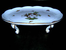 415/RO Herend Hungary Rothschild Bird HP China Porcelan Oval Footed Platter Tray