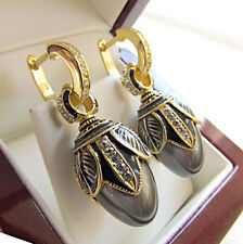 SALE ! FASCINATING EARRINGS HANDMADE OF STERLING SILVER 925 WITH GRAY PEARL