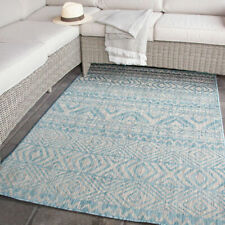 Rugs for Garden Patio Area Aqua Blue Silver Outdoor Rug Washable Budget Rugs NEW