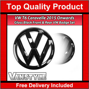 FOR VW T6 CARAVELLE 2015> STYLE REPLACEMENT FRONT & REAR GLOSS BLACK BADGE SET
